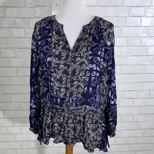 Free People Long Sleeve Paisley Button Down Blouse
